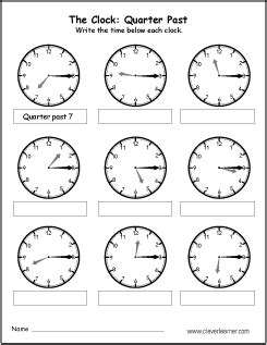 clock worksheets quarter past free quarter past the hour worksheets for 2nd graders