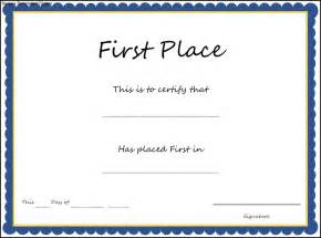 Place Certificate Template by Doc 550412 Doc650502 1st Place Award Certificate 1st