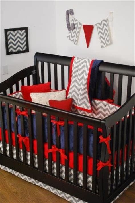 red baby bedding red grey chevron and navy crib bedding in the nursery
