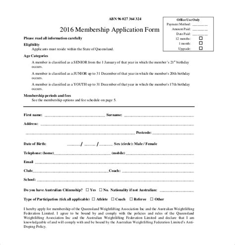 Awesome Requirements For Church Membership #4: 2016-Membership-Application-Form-PDF-Free-Download.jpg