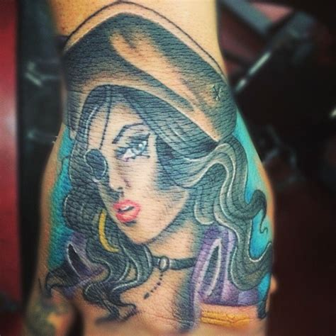 pirate girl tattoo awesome colorful pirate on