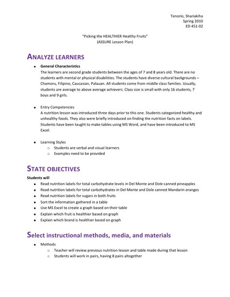 assure model lesson plan template lesson plan 1