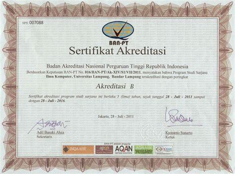 Surat Keterangan Akreditasi Universitas by Akreditasi Jurusan Ilmu Komputer Unila Jurusan Ilmu