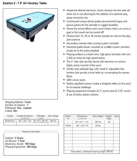 easton 7 ft air hockey table the easton 7 5 air hockey lowest prices guaranteed