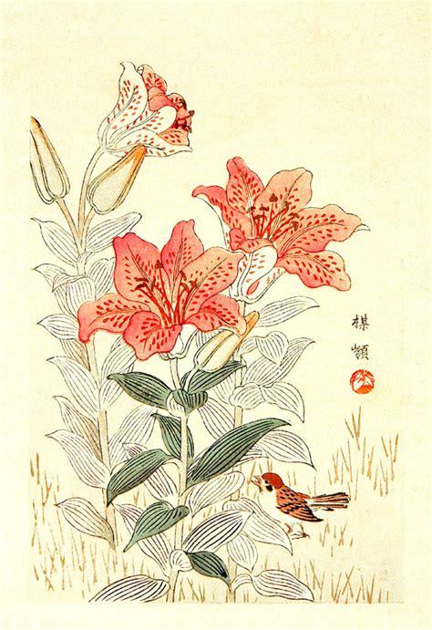 botanica fiori arte giapponese fiori e uccelli in botanica ste poster