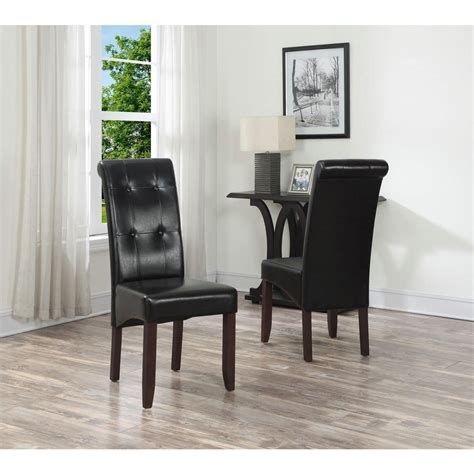 Black Leather Parsons Dining Chairs Simpli Home Cosmopolitan Midnight Black Faux Leather
