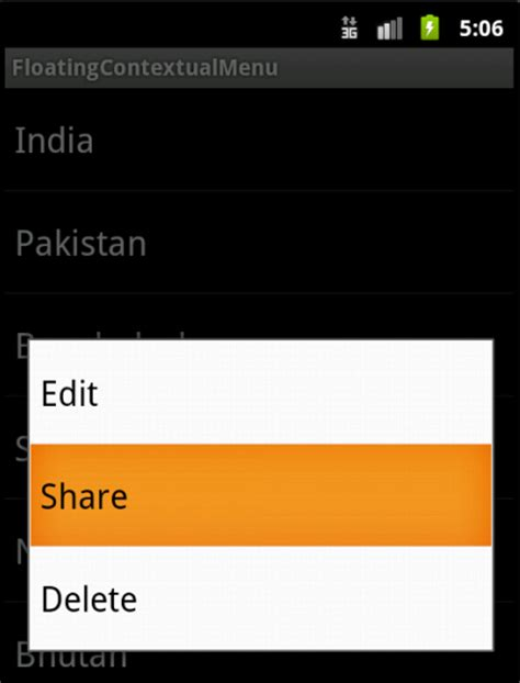 android layout context menu creating a floating contextual menu in android knowledge