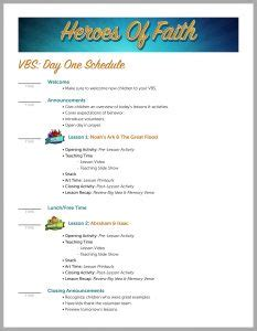 Vbs An Easy Vacation Bible School Guide You Ll Love Vbs Schedule Template