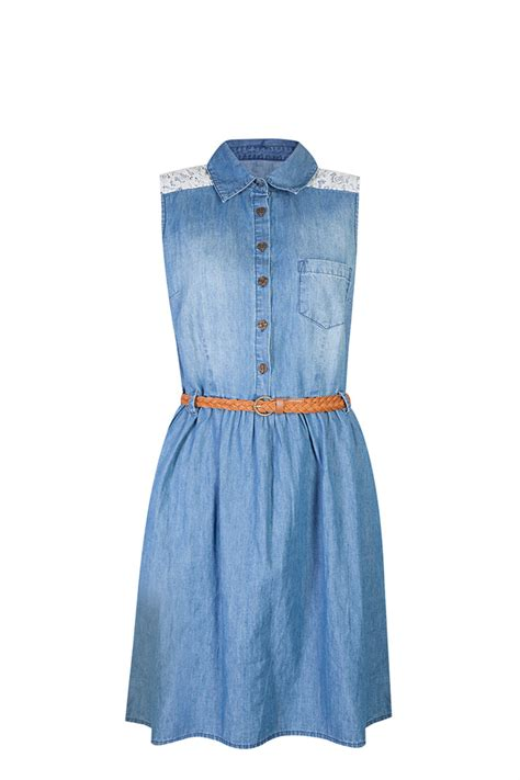 topshop pocket denim swing dress