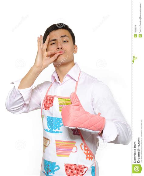 Italian Kitchen Designers Happy Cook Man In Apron Smiling Royalty Free Stock Image