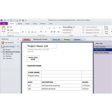 onenote task management template using ms onenote project management for organization