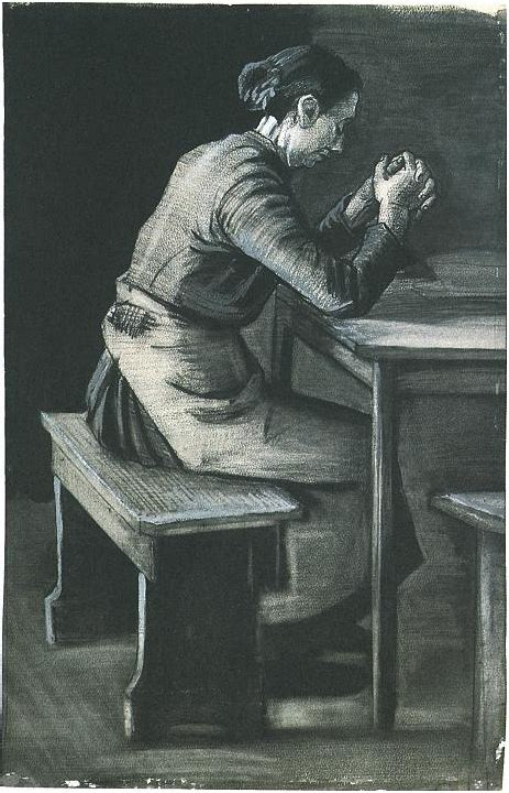 woman praying  vincent van gogh  drawing