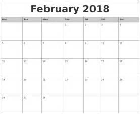 Printable Monthly Calendar 2017 February 2018 Monthly Calendar Printable