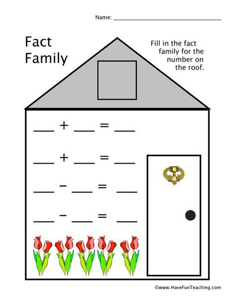 Fact Family Worksheets by Fact Family Worksheet Teaching