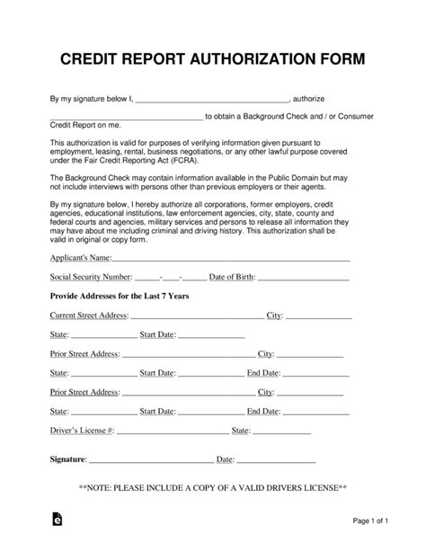 credit report authorization form template 12 credit report