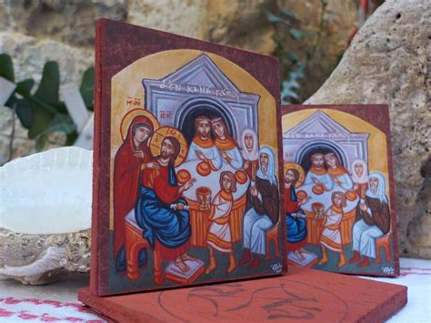 Wedding Of Cana Icon by Miniature Byzantine Cana Wedding Icons Wedding Favors By