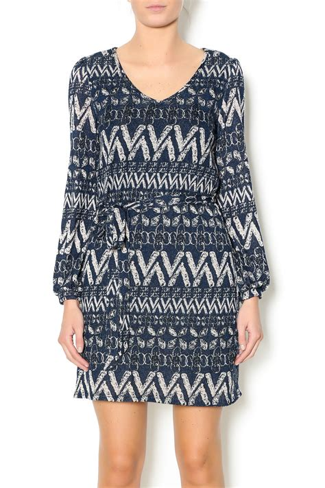 Pinguin Dress2 bo bel navy pattern knit dress from west by pink