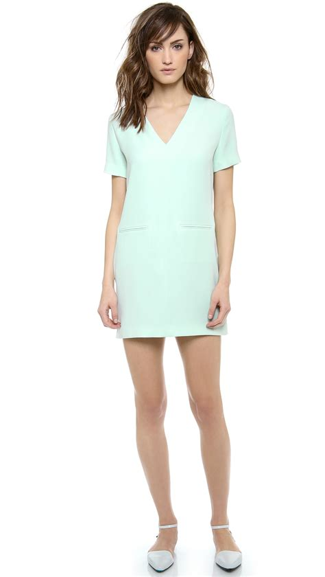 v drape t by alexander wang drape suiting v neck dress in green
