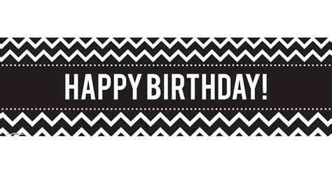 Banner Happy Birthday Black White chevron black birthday banner birthdayexpress