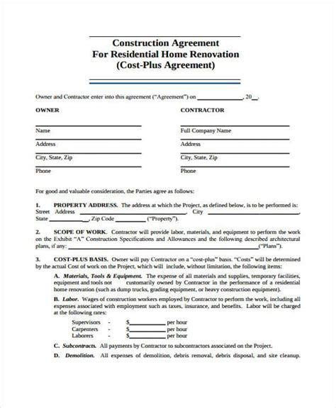residential construction contract template construction agreement form 897 best real estate forms