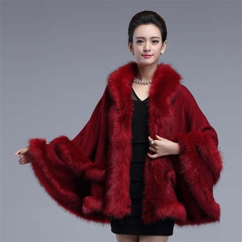 warm cold winter new imitation fox fur cape coat