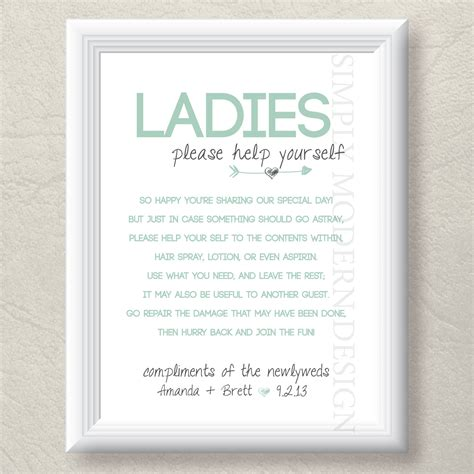 poem for bathroom basket at wedding reception bathroom basket sign wedding bathroom sign guest