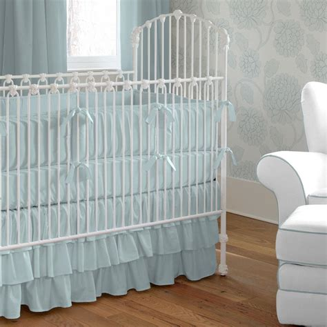 Baby Blue Crib Bumper Solid Robin S Egg Blue Crib Bedding Carousel Designs