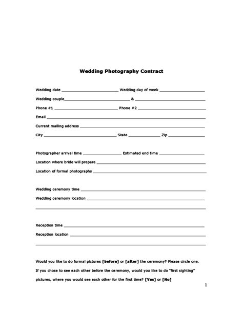 Wedding Photography Contract Free Download Photography Contract Forms Template