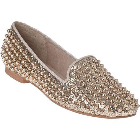 steve madden gold loafers steve madden studlyy loafer gold glitter fabric polyvore