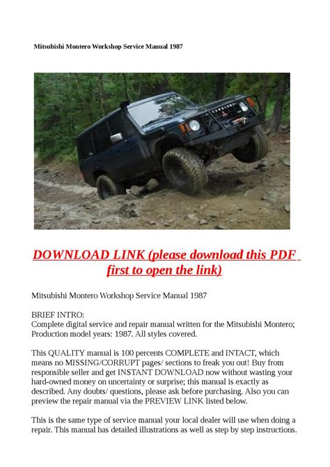 service repair manual free download 1987 mitsubishi excel security system mitsubishi montero workshop service manual 1987 by molly issuu