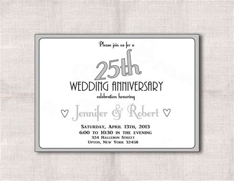 25th anniversary invitations templates free 25th wedding anniversary invitations free printable