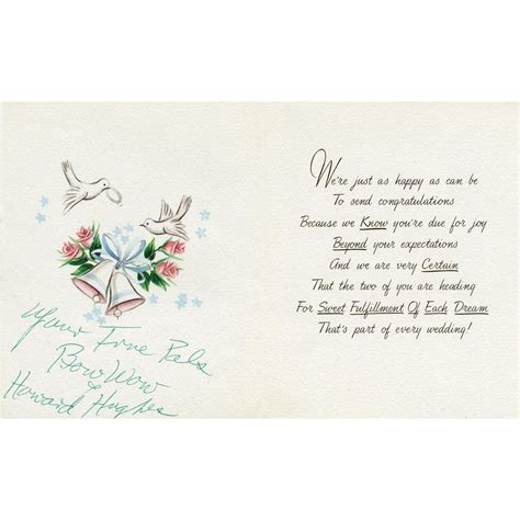 Wedding Card Congratulations by Howard Hughes Wedding Congratulations Card To Johnny