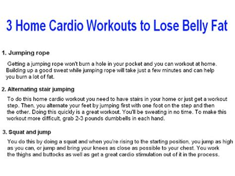 3 home cardio workouts to lose belly
