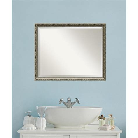 Home Depot Vanity Mirror Bathroom Amanti Parisian Silver Wood 31 In W X 25 In H Traditional Bathroom Vanity Mirror