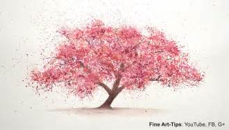 how to paint a cherry tree in watercolor splatter painting
