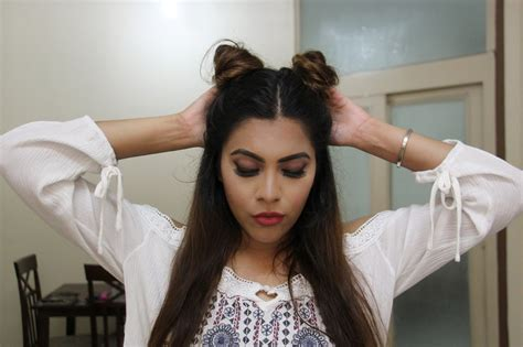 2 Buns Hairstyle by Buns No Heat 2 Minute Hairstyle Indian Diary