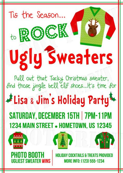 Ugly Christmas Sweater Invitation Wording Happy Holidays Sweater Invitation Templates Free