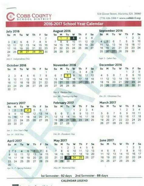 Cobb County Calendar Cobb County Schools Calendar 2017 My