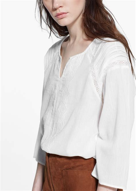 Blouse Mango Mango Embroidered Cotton Blouse In White Lyst
