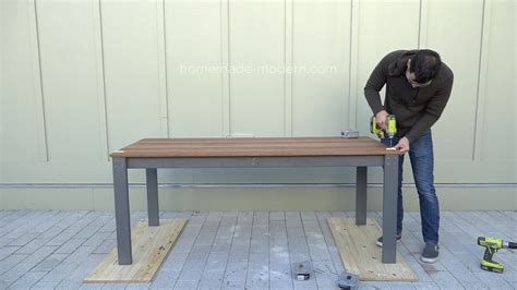 outdoor dining bench homemade modern ep101 diy outdoor dining table