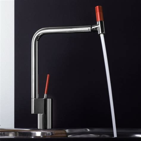 Red Kitchen Faucets | webert 360 kitchen faucet in chrome red modern kitchen