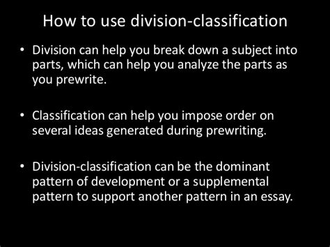 classification pattern of development what is division classification