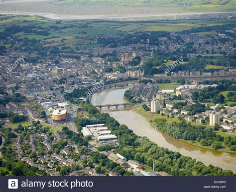 lancaster west uk from the air showing the