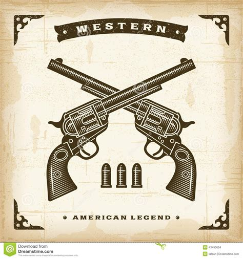 House Plans Country Style vintage western revolvers stock vector image 43490054