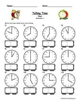 Novel 2nd I Am Number Four telling time clock worksheet to the hour by