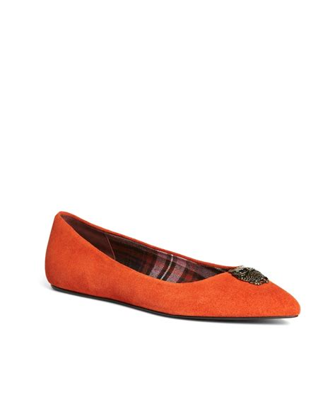 orange flats shoes brothers suede ballet flats in orange lyst