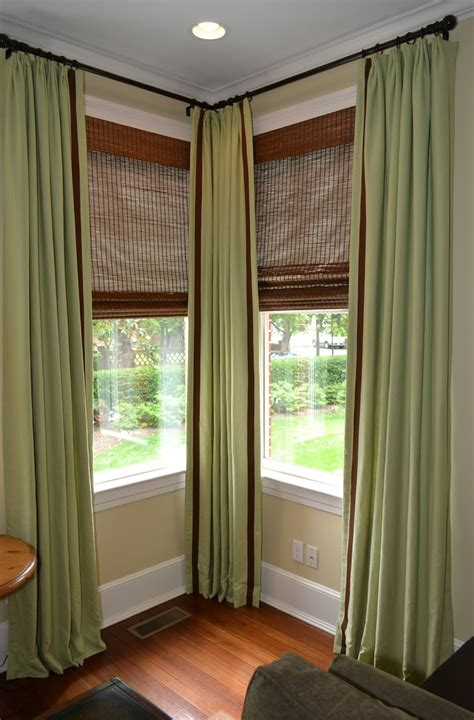 Corner window curtain rod home design ideas