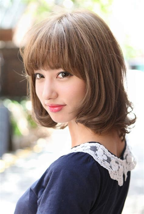 haircut bob japan cute japanese bob hairstyle with blunt bangs blunt bangs