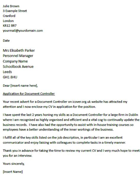 F And B Controller Cover Letter by Cover Letter For A Document Controller Icover Org Uk
