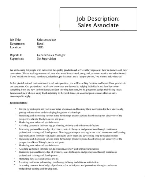 retail sales associate description resume template